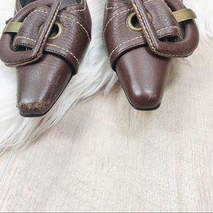 Costa Blanca Shoes - Costa Blanca Brown Leather Pointed Toe Kitten Heel